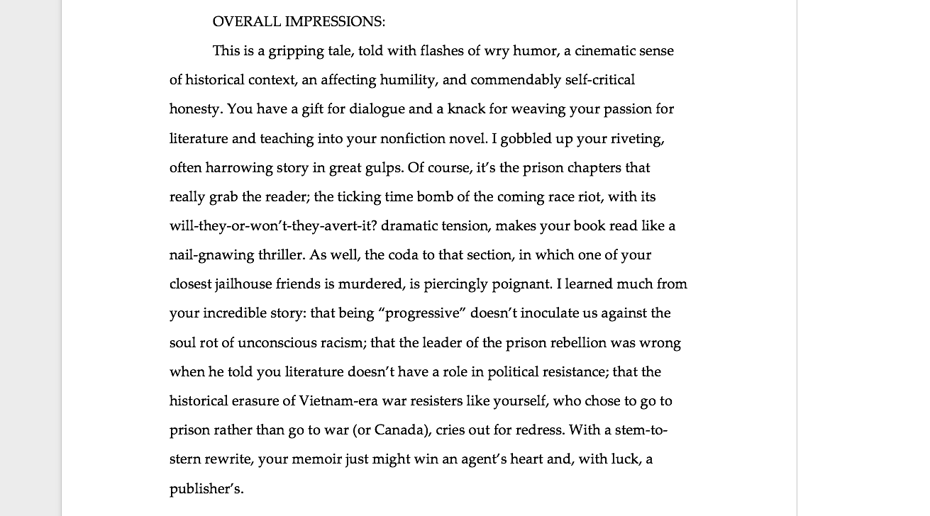 Here's an excerpt from one of my written responses