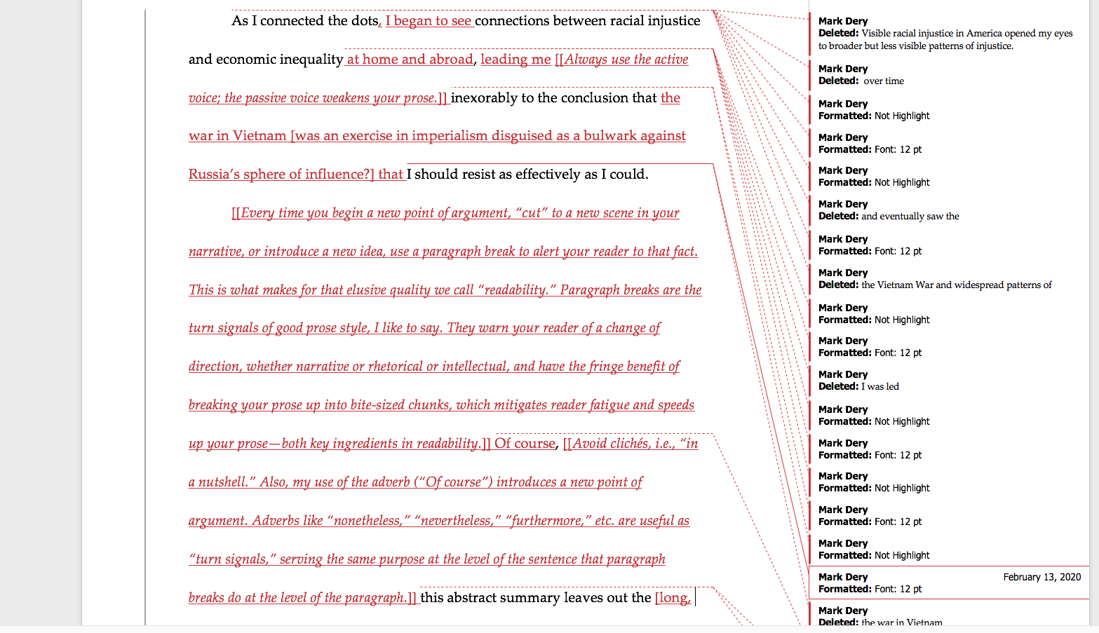 Here's an example of my page-by-page analysis and line-edit